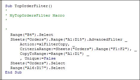 Excel Advanced Filter VBA Programming