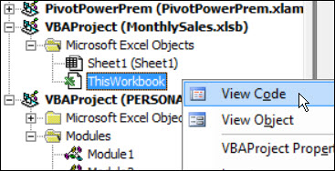 ThisWorkbook View Code