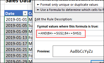 conditional formatting formula