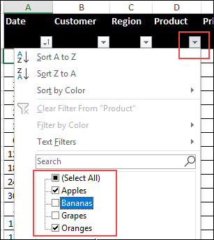 filter drop down in Excel table