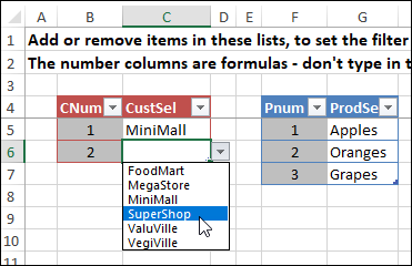named tables for criteria lists