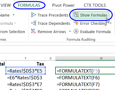 show formulas command on Ribbon