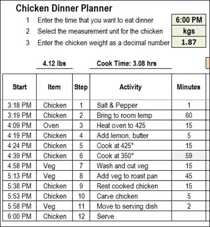 excel chicken dinner planner
