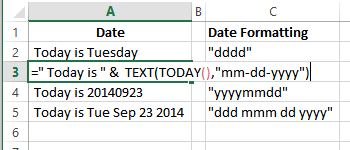 combine text date format
