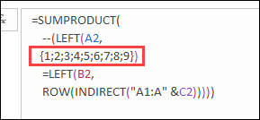 ROW function gets row numbers