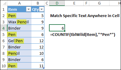 count specific items anywhere in a cell