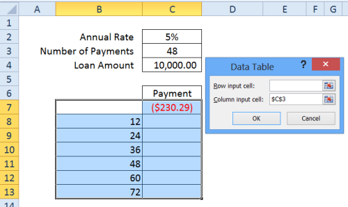 data table input cell