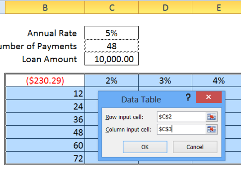 data table 2 input cells