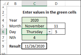 calculate nth weekday in month