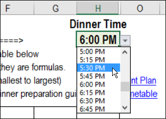 how to make a meal plan on excel