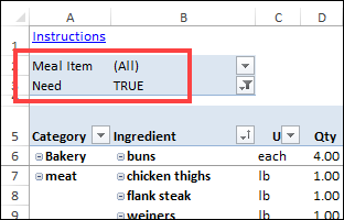 shopping list filters