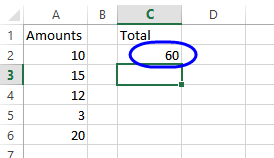 formula result - total of range