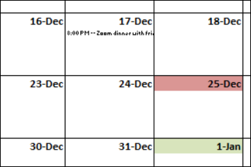 holiday calendar shows events