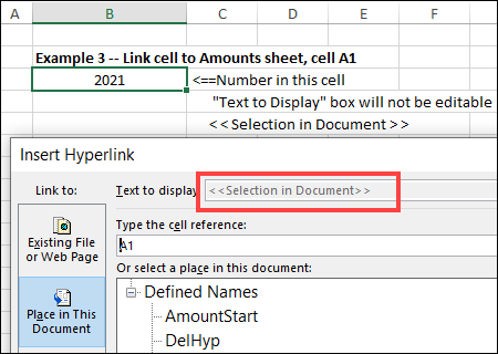 text to display dimmed out and says < < Selection in Document > >