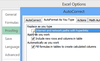 hyperlink options