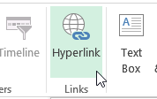 hyperlink comand on ribbon