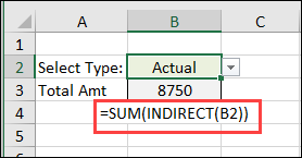 INDIRECT shows sum of selected data typs, Budget or Actual