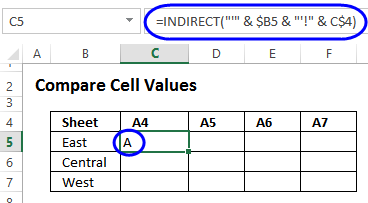 Check Cell Contents With INDIRECT Function