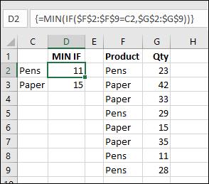 MIN IF formula