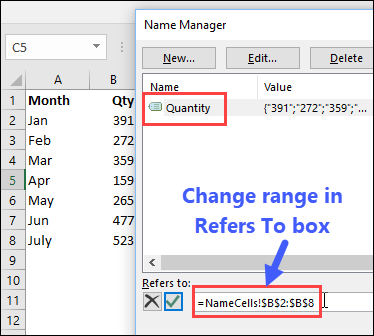 Change a name in Name Manager