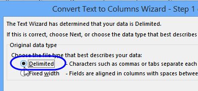 Text to Columns wizard step 1