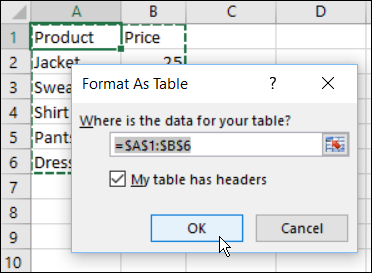 how to create excel order form