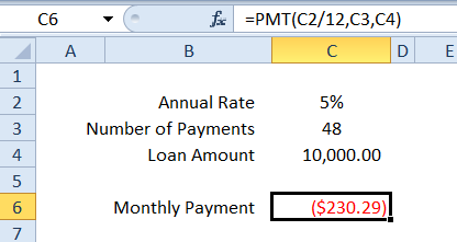 PMT loan calculation