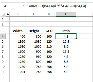 GCD formula for ratio