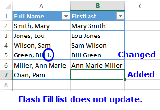 flash fill list does not update