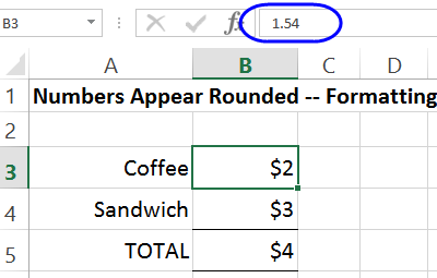 round with actual value in formula bar