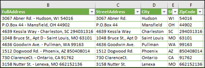 split address into separate columns