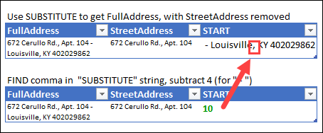 Split Address With Excel Functions