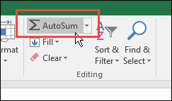 AutoSum button on Home tab