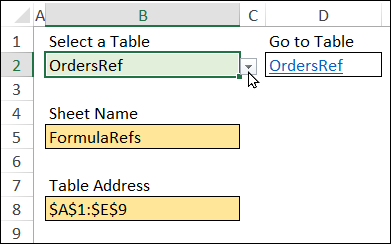select a table to see sheet name and table address