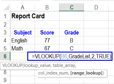 VLOOKUP formula for approximate match student grades