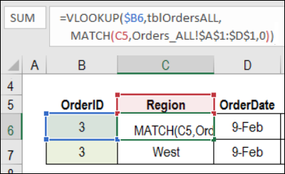 VLOOKUP formula with MATCH