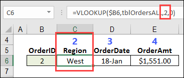 lookup table with order details