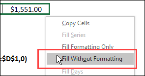 Fill Without Formatting