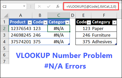 Lookup A Number >> Excel Vlookup Numbers Problem
