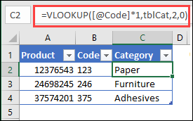 convert to number in VLOOKUP