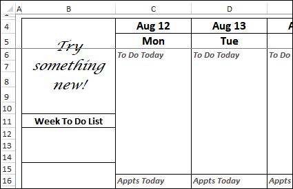 Excel weekly planner screen shot