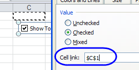 linked cell for check box