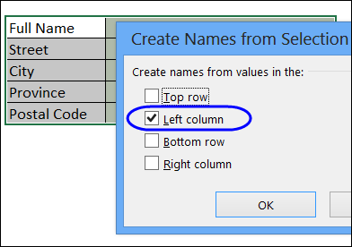 select labels and cells