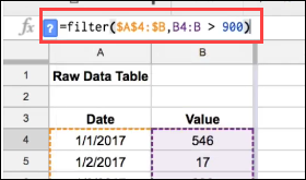 Google Sheets Filter function