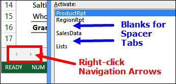worksheet navigation tips