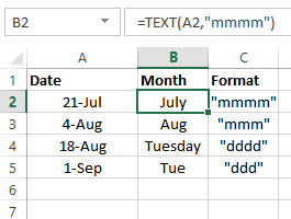 show month with TEXT function
