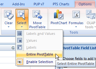 Pivottable select