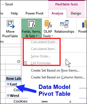 pivot table formula commands