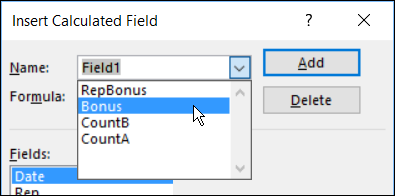 select a Calculated Field