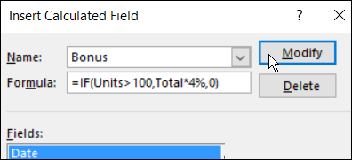modify a Calculated Field